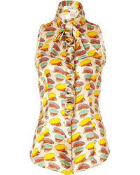 L'Wren Scott Soft Nougatmulti Cap Printed Silk Top with Ruffle - Lyst