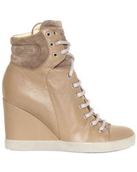 See By Chloé 80mm Leather Trainer Laced Wedges - Brown