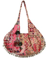 Simone Camille Moon Bag Patchwork Canvas Tote - Pink