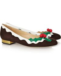 Charlotte Olympia Holly Suede and Patent Leather Flats gold - Lyst