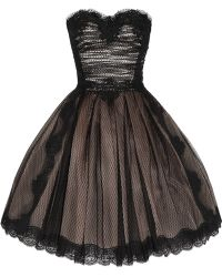Dolce & Gabbana Strapless Lace and Tulle Dress black - Lyst