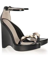 Jason Wu Embellished Wedge Sandals - Black