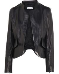 Jil Sander Nostradamus Peplum Back Leather Jacket blue - Lyst
