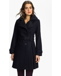 Laundry by Shelli Segal Double Breasted Military Coat Petite - Lyst