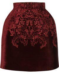 McQ by Alexander McQueen The Broderie Anglaise Velvet Bell Skirt red - Lyst