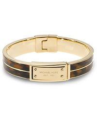 Michael Kors Logo-Plaque Bangle gold - Lyst