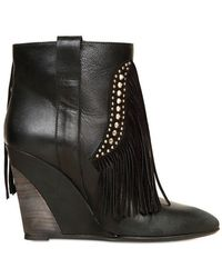 Strategia - Leather and Suede Fringe Wedge Boots - Lyst