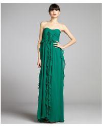 Badgley Mischka Emerald Satin and Silk Chiffon Strapless Ruffle Gown - Lyst