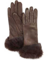 Grandoe Fur Cuff Sheepskin Gloves - Lyst