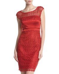 Jax Scalloped Capsleeve Lace Dress - Lyst