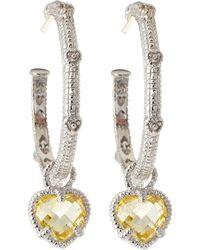 Judith Ripka - Linen Stone Drop Hoop Earrings - Lyst