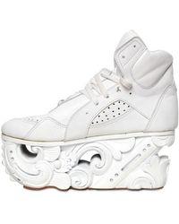 KTZ Calf Wood Sculptured Sneakers - White