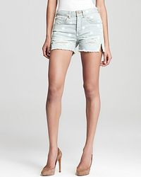 Marc By Marc Jacobs Shorts Cut Off High Waist Boy in Lily Dot - Blue