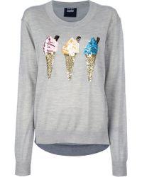 Markus Lupfer Ice Cream Sequin Sweater gray - Lyst