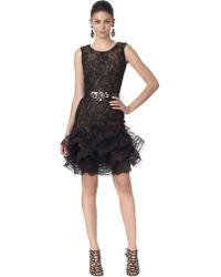 Oscar de la Renta Sleeveless Dress with Lace Hem - Lyst