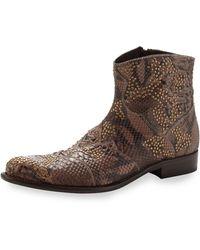 True Religion - Gant Studded Pythonembossed Short Boot - Lyst