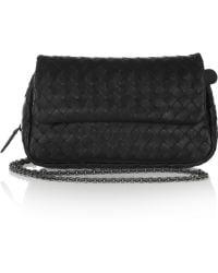 Bottega Veneta Leather Shoulder Bag black - Lyst