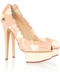 Charlotte Olympia Love Me Heart-Appliquéd Leather And Suede Pumps - Lyst