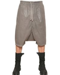 Rick Owens Waxed Cotton Poplin Low Crotch Shorts - Lyst