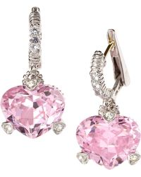 Judith Ripka - Faceted Heart Cz Earrings - Lyst