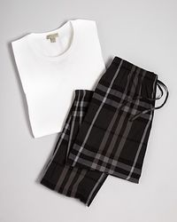Burberry Solid Check Cotton Pj Set - Lyst