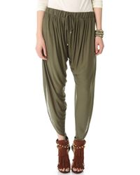 Haute Hippie Draped Jersey Harem Pants - Military green - Lyst