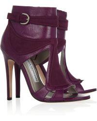 Camilla Skovgaard Leather and Nubuck Sandals - Purple