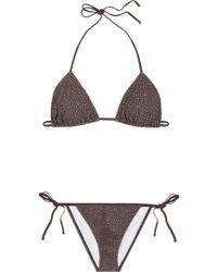 Chloé Broderie Anglaise Laser-cut Triangle Bikini - Brown
