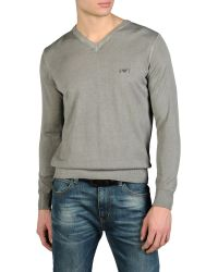 Armani Jeans Sweater in Cold Dyed Cotton - Lyst