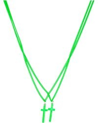 DSquared² Double Crucifix Necklace green - Lyst