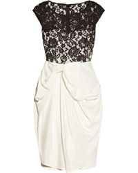 Notte by Marchesa Silk Jersey and Lace Dress black - Lyst