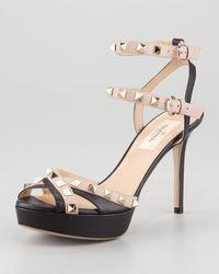 Valentino Studded Double Anklestrap Sandal - Lyst