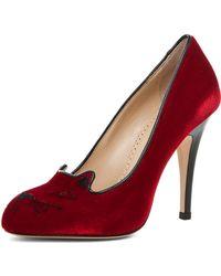 Charlotte Olympia Velvet Heel red - Lyst