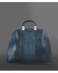 Emporio Armani - Calfskin Handbag with Croc Print - Lyst