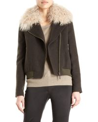 Icb - Bomber Jacket with Mongolian Lamb Collar - Lyst