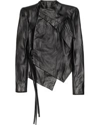 Aminaka Wilmont Asymmetric Leather Biker Jacket - Lyst