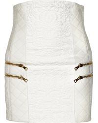 Balmain Leather Trimmed Cotton-blend Brocade Skirt - Lyst