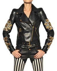 Fausto Puglisi Embroidered Nappa Leather Biker Jacket - Lyst