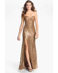 La Femme Women'S Strapless Sequin Gown - Lyst
