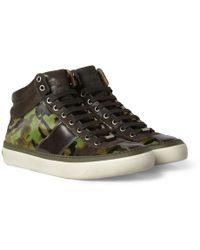 Jimmy Choo Belgravia Camouflage-print Ponyskin High Top Sneakers - Lyst