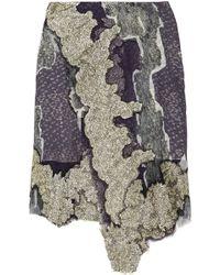 Michael van der Ham Lacetrimmed Chiffon Skirt gray - Lyst