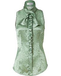 L'Wren Scott  Tie Neck Silk Top with Ruffle - Lyst