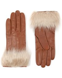 Ted Baker - Furbie Leather Gloves - Lyst