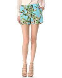 Twelfth Street Cynthia Vincent - Leaf Print Silk Shorts - Lyst