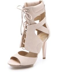 B Brian Atwood Laced Sandal Boots beige - Lyst