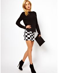 ASOS Collection Mini Skirt in Checkerboard Print black - Lyst