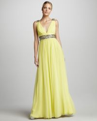 Notte by Marchesa Beaded Vneck Chiffon Gown - Lyst