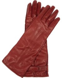 Valentino Long Leather Gloves - Brown