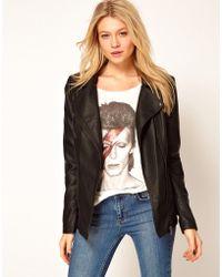 Oasis Leather Look Long Biker Jacket black - Lyst