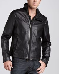 John Varvatos Leather Motorcycle Jacket - Lyst